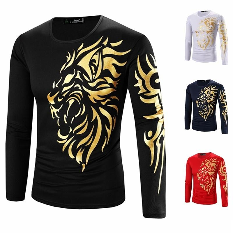 2018 Fashion Autumn Winter Tops Men S Gold Foil Printing Tattoo Design Men S  Long Sleeved Shirt Round Neck Casual T Shirt Shirt Designs Best T Shirts  From ... 3b146781ec