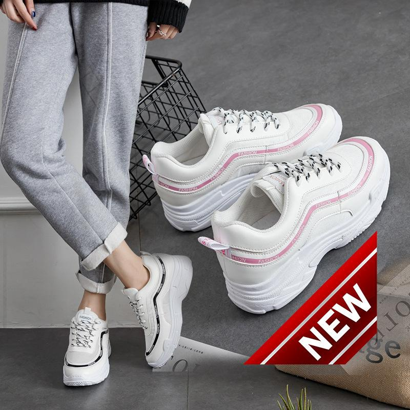 New Spring Students White Thick Bottom Casual Korean Running Sports Sneakers