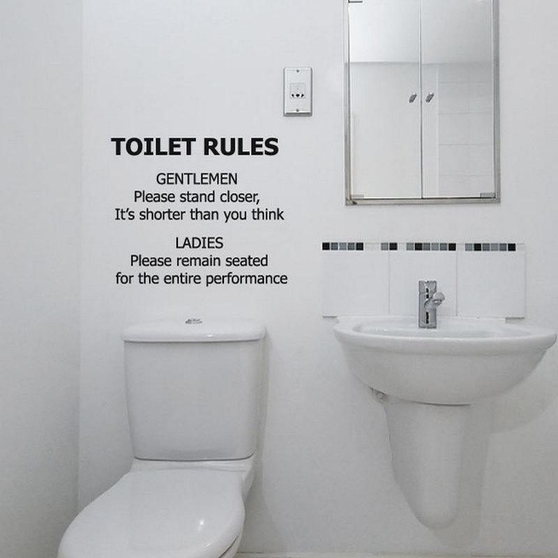 funny bathroom wall decal toilet rules sticker waterproof vinyl