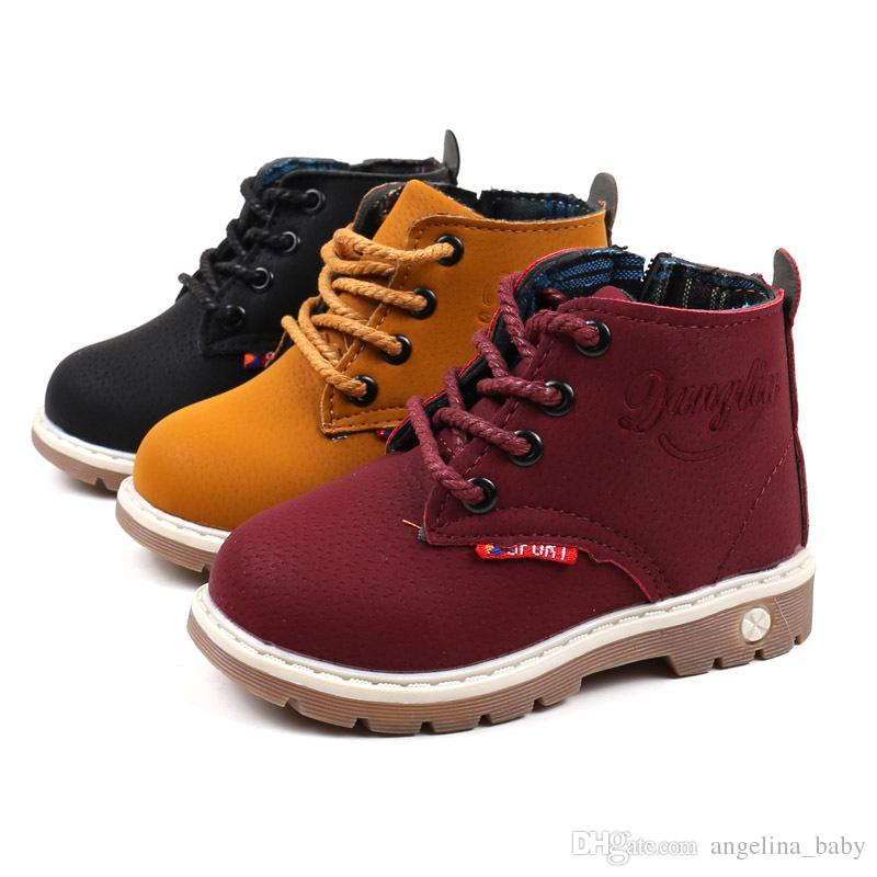 New Spring Autumn Winter Fashion Child Leather Snow Boots For Girls Boys Warm Martin Boots Shoes Casual Plush Child Baby Toddler Shoes 21-30