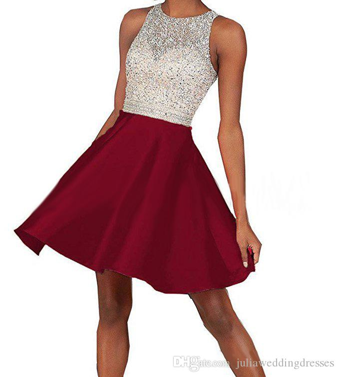 2018 New Arrival Cheap Short Homecoming Dresses Plus Size Beaded