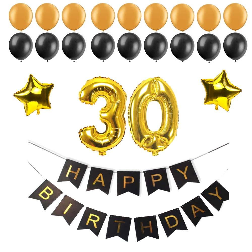 40 50 60 30 Years Old Happy Birthday Paper Bunting Banner Number Foil Latex Balloons Party Decoration Supplies Black 80s Decorations