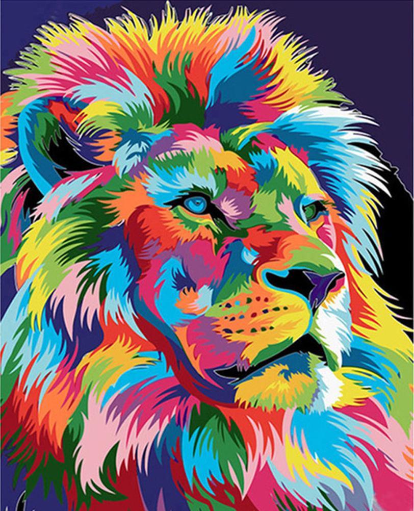 Malen Nach Zahlen Kits Mit Acrylfarben Pinsel Diy Lion Tiere Leinwand Gemälde Mit Gerahmten Ungerahmt Für Erwachsene Anfänger