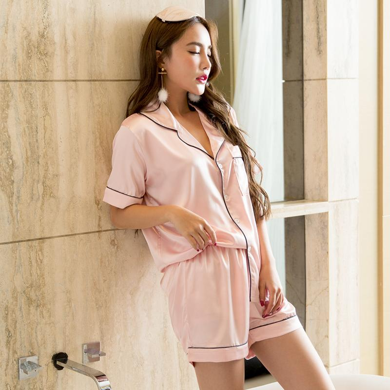 2019 Wholesale Nightwear Tops + Short Pants Sleep Wear Sexy Nighties Lady  Silk Pink Combinaison Pyjama Women Sleepwear With Shorts From Clothesg202 5af478947
