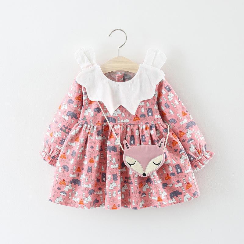 930fdc6fb 2018 Children S Wear 18 Autumn Girl Fashion Print Dress 0 3 Year Old ...