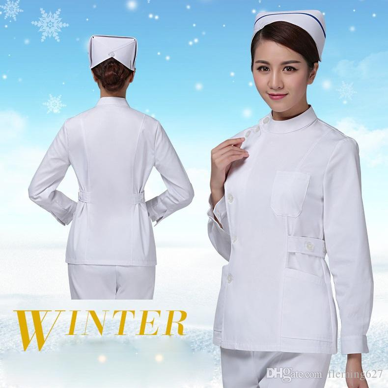 8d72b144a14 2019 Winter Split Set Long Sleeve Work Wear Female ICU Beauty Services  Nurse Breathable Medical Uniforms Hospital Lab Coat Doctor From Fleming627,  ...