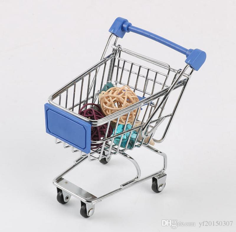 Mini Shopping Cart Mini Supermarket Hand Trolleys Desktop Decoration Storage Phone Holder Baby Toy