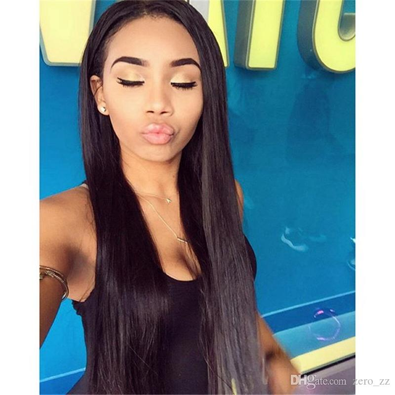 "Brazilian Full Lace Human Hair Wigs For Black Women Pre-Plucked 130-180% Straight Weave 10-30"" Nature Color"