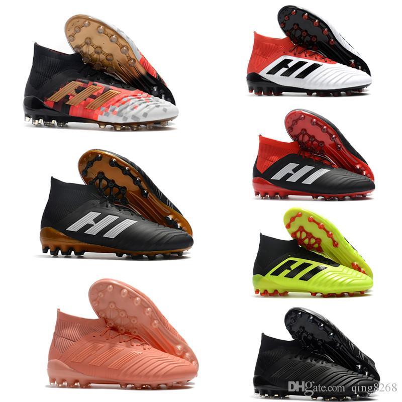 huge discount 05159 7b835 Compre Zapatos De Fútbol Para Hombre Botas De Fútbol Predator 18.1 AG Tacos  De Fútbol 100% Originales Messi High Ankle Outdoor A  43.86 Del Qing8268 ...