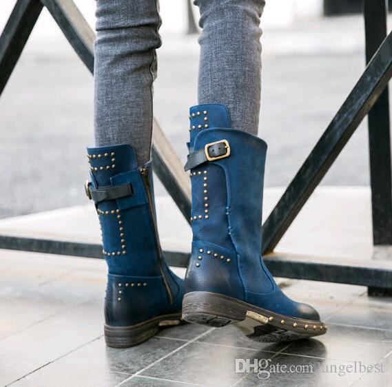 2018 hot new rivets vintage flat heel genuine leather blue half boots women winter autumn martin boots fashion knight shoes western boots