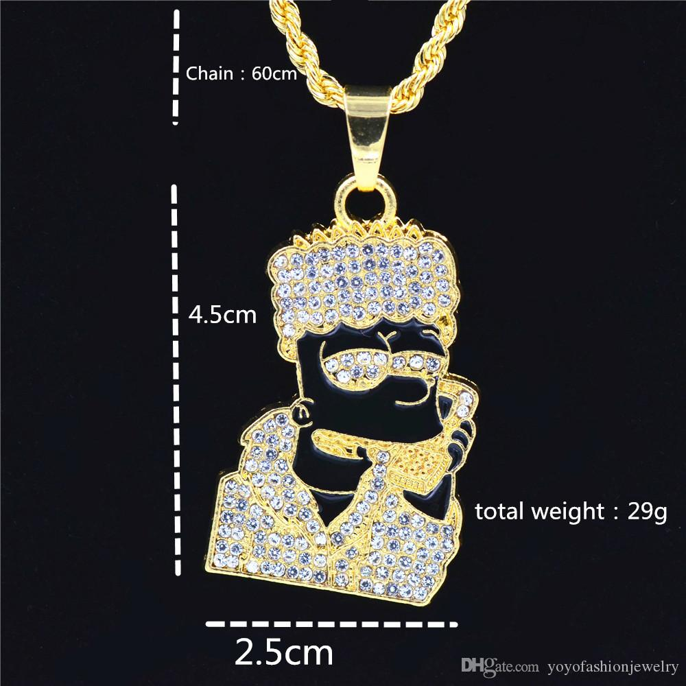 New Oil Ice Out Bling Full Micro Pave Rhinestone Men Head Pendant Necklace for Men Jewelry