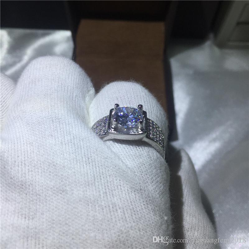 Moda Takı Adam Beyaz altın dolgulu 925 Ayar gümüş yüzük Solitaire 3Ct 5A zirkon cz Nişan Düğün Band Yüzük Hediye
