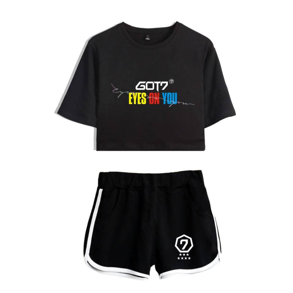 be6157e0aad0 2019 GOT7 KPOP Summer Dew Navel Women Set Two Sets 2018 Cotton Korean  Version Sportswear Shorts Short Sleeved T Shirt Letter Printing From  Fenghuangmu, ...
