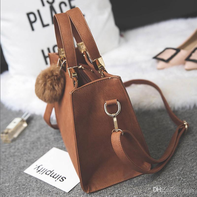 Женская мода сумки Сумка простой небольшой квадратный пакет ретро плечо диагональ девушки волосы мяч сумка
