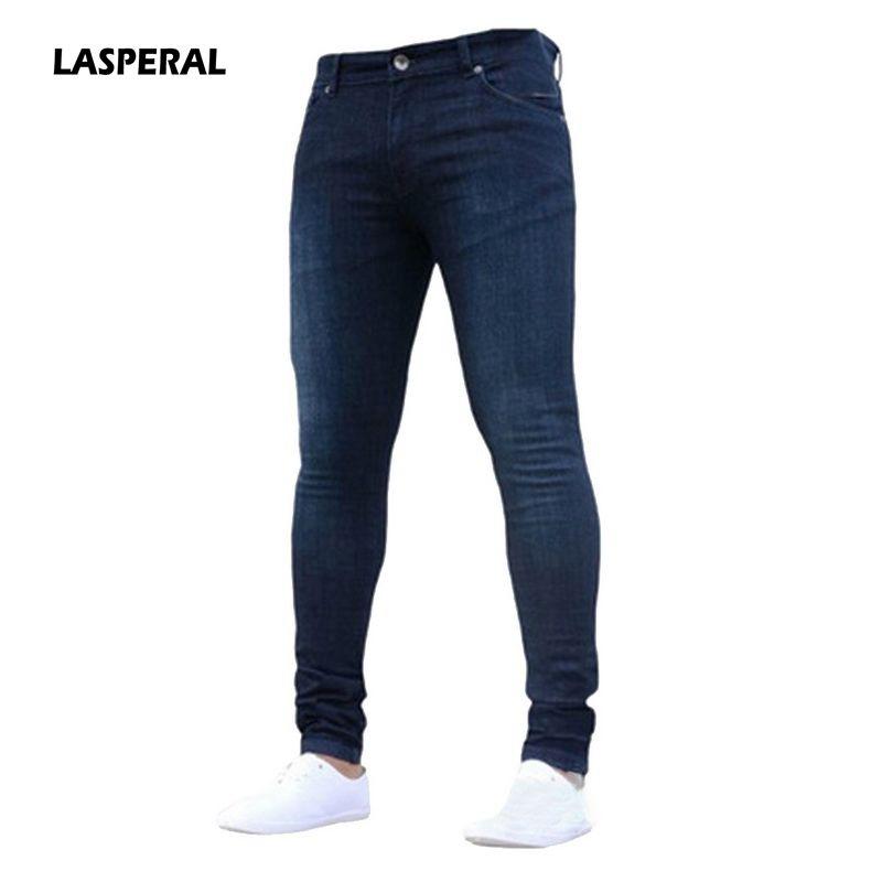 7df16084 Compre LASPERAL 2017 Nova Moda Masculina Casual Estiramento Skinny Jeans  Calças Apertadas Calças Cor Sólida Calça Jeans Men Marca Mens Designer De  Seein, ...
