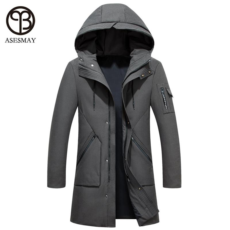 Asesmay Winter Men Cappotto Piuma d'oca di spessore Warm White Duck Down Giacca invernale Mens Parka Hooded Military Green Men Down Jacket