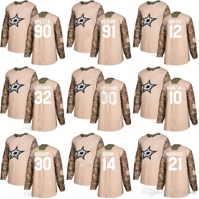 promo code 5ab28 aa12e Dallas Stars 2018 Camo Veterans Day Jersey 91 Tyler Seguin 14 Jamie Benn 90  Jason Spezza 32 Kari Lehtonen 30 Ben Bishop Hockey Jersey