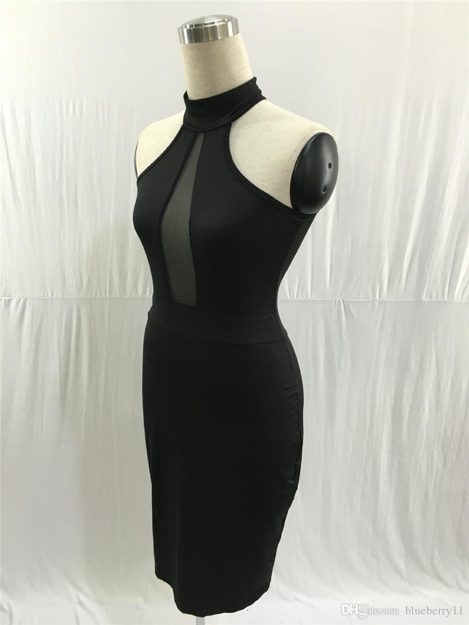 2018 Summer Sleeveless Midi Bodycon Dress Backless Sexy Women Dress Club Wear Elegant Mesh Party Dresses Black S-XLFree Shipping