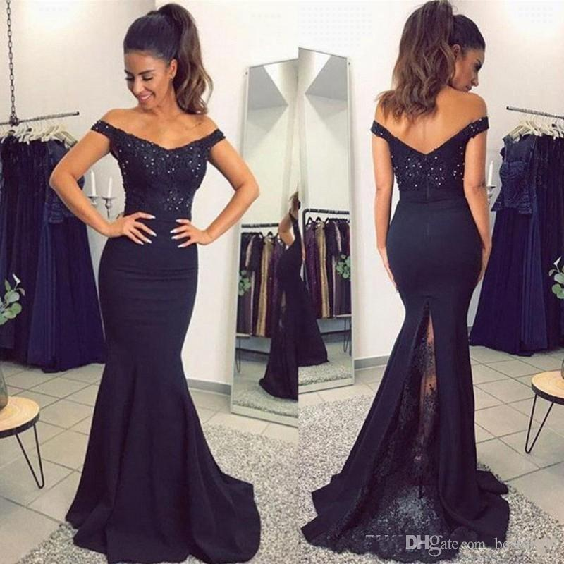 2018 Dark Navy Lace Applique Mermaid Prom Dresses Off The Shoulder Beaded Satin Bridesmaid Dress For Party Gowns BA7159