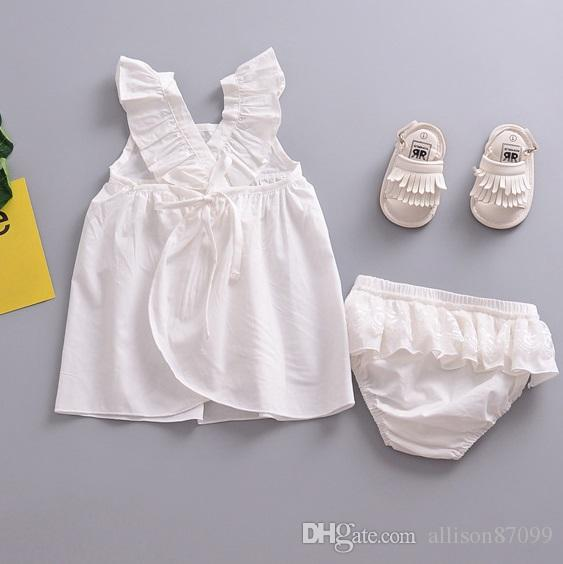 f163e0e114ec 2019 2018 INS Infant Outfits Baby Girl Clothes White Top Ruffle Sleeve Back  Cross Strap + Lace Bread Shorts Set New Arrival From Allison87099