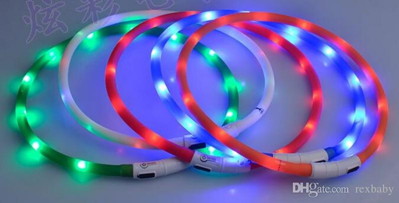 Cut USB Charge Dog Training Collar LED Outdoor Luminous charger Pet Dog Collars light Adjustable LED flashing dog collar