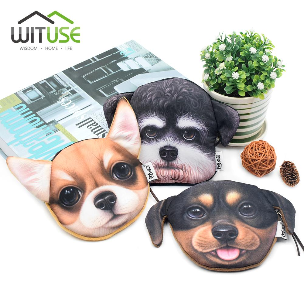 3D Girls Wallet Bag Ladies Face Zipper Mini Dogs Coin Purses Children's Purse Plush Bolsa De Moeda Coins Pouch Keys Cards Bag