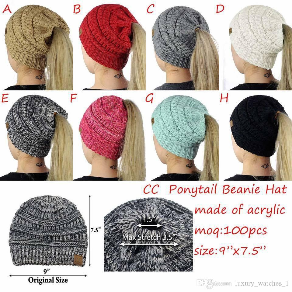 2018 Women CC Ponytail Caps CC winter Knitted hats Beanie Fashion Girls Winter Warm Hat Back Hole Pony Tail Autumn Casual Beanies