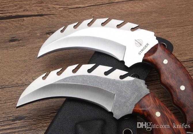 Strider Kirin Karambit Klaue D2 Klinge Ebenholzgriff 59-60HRC im Freien kampierendes Jagdmesserweihnachtsgeschenk für Mann