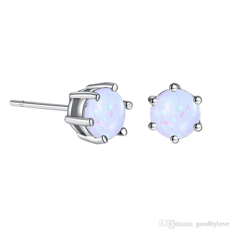 New 18K White Gold Plated Six Claws White & Colorful 6MM Opal Piercing Stud Earrings Fashion Party Costume Jewelry for Women Girls