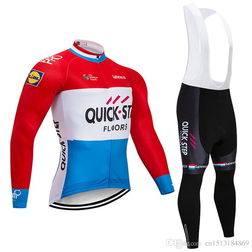 Tour De France 2018 Pro Team Quick STEP Winter Thermal Fleece Cycling Jersey  Kit Ropa Ciclismo Invierno Bicycle Bike Clothing Bib Pants Kit Retro Cycling  ... 02cde8eab