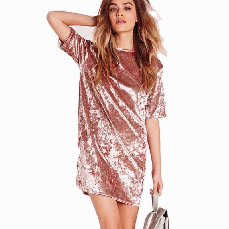467453adc41 X 2018 New Fashion Casual Summer Women Dress Loose Solid Short Sleeve  Velvet Dress Sexy Party Mini Dresses Robe Vestidos De Fiesta High Quality  Vestidos De ...