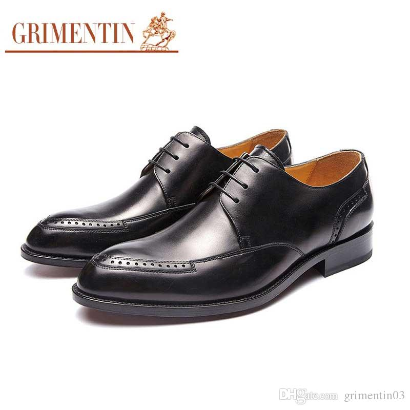 GRIMENTIN Hot sale brand customized handmade shoes genuine leather black brown mens dress shoes fashion business party mens wedding shoes