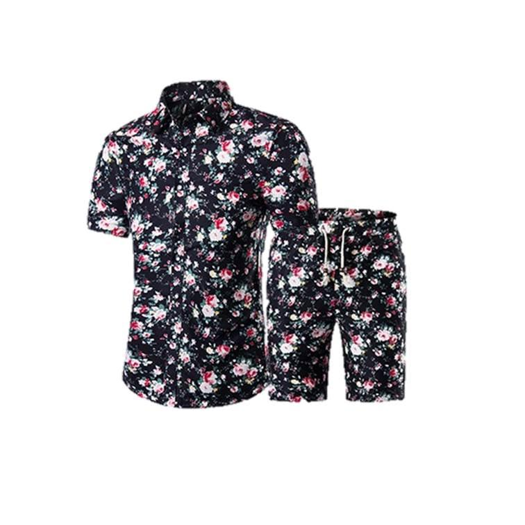Mens Summer Hawaii Style Floral Print Short Sleeved Shirt Mens Shorts 2PCS 5XL Large Size Suits