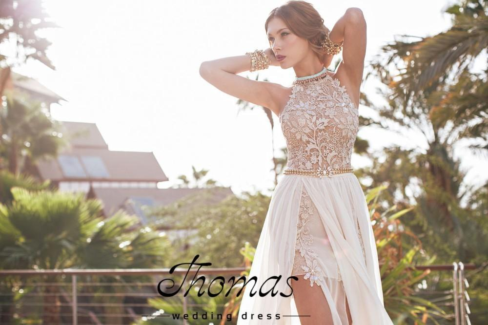 romantic white prom dresses 2018 high low lace special occasion dress high neck beaded chiffon party dress WV-746
