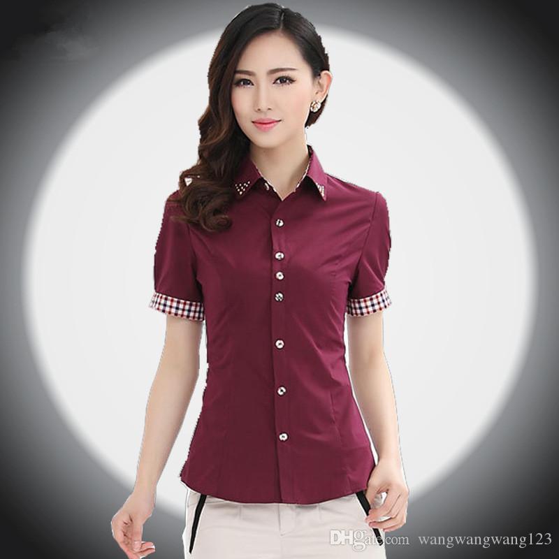 Europa primavera autunno donne formale manica corta risvolto paillettes camicie carriera usura rosso bianco coreano donna camicette slim top camicie da ufficio
