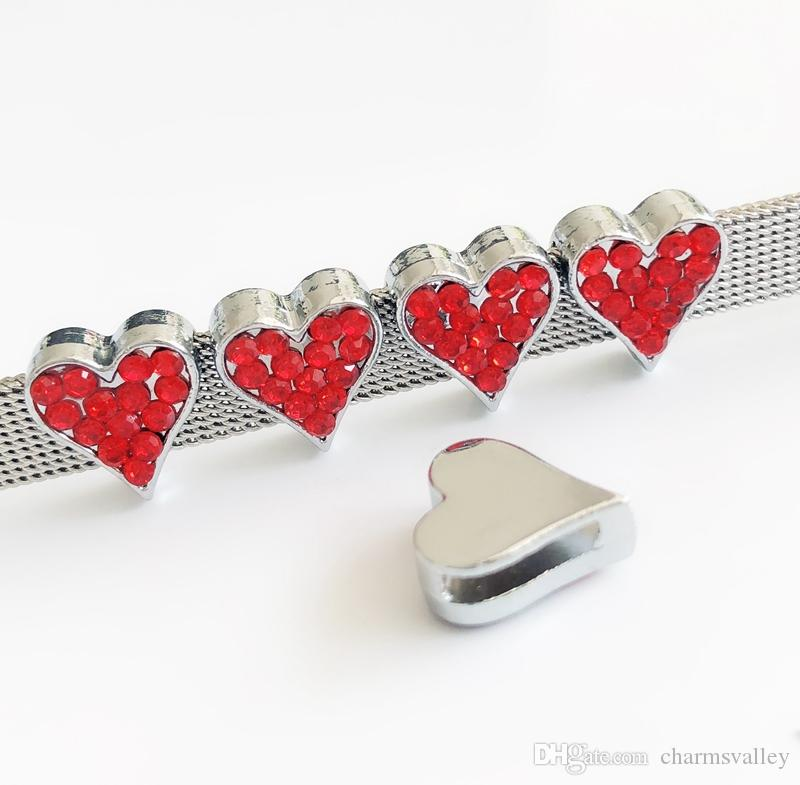 8mm Red Rhinestone Heart Slide Charms Bead Jewelry Finding DIY 8MM ... 71b4bd010eda