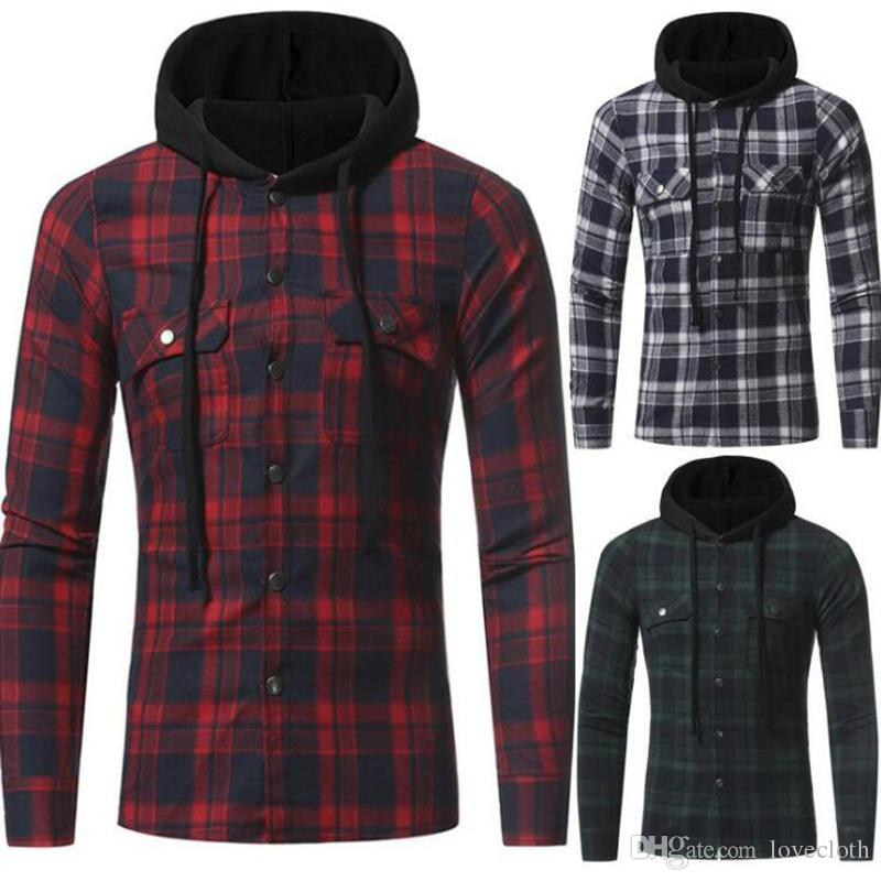 dc2f9bf7 Autumn And Winter Men's New Flannel Large Plaid Double Pocket Hooded ...