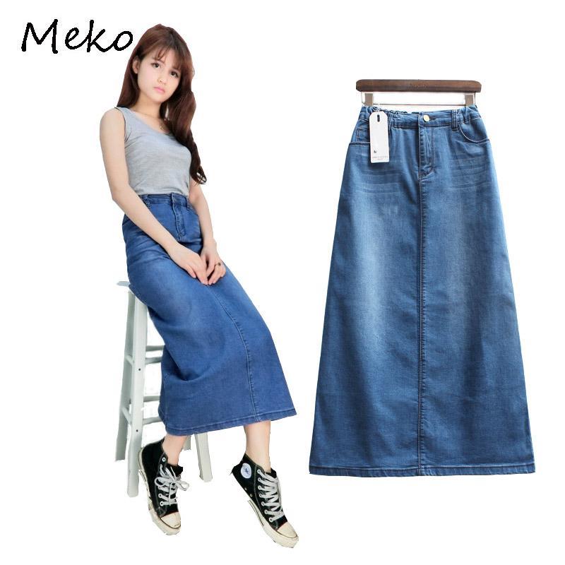 95bdee73332 2019 2017 Spring And Autumn Denim Skirt Leisure Button High Waist Blue  Women Skirts College Style Fashion Stitching Cowboy Skirt CW17 From Jingju