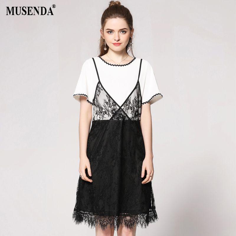 2019 Musenda Plus Size Women White Black Patchwork Lace Tunic Dress