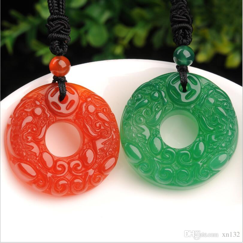 Factory direct Natural jade agate chalcedony pendant Pendant Double buckle jade gift wholesale