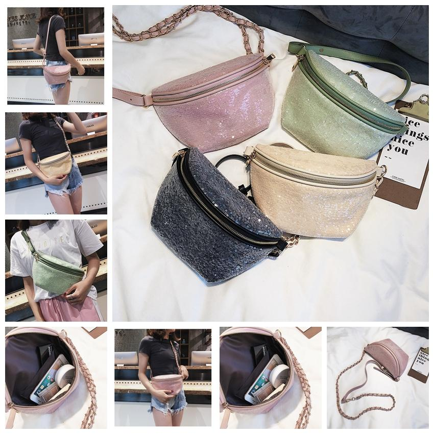 Sequin PU Fanny Pack Fashion Women Messenger Bag Chest Bags Chain Glitter  Shoulder Bag Waist Bags Cross Body GGA1135 Leather Tote Bags Clutch Purse  From ... 4c458b3cfa09