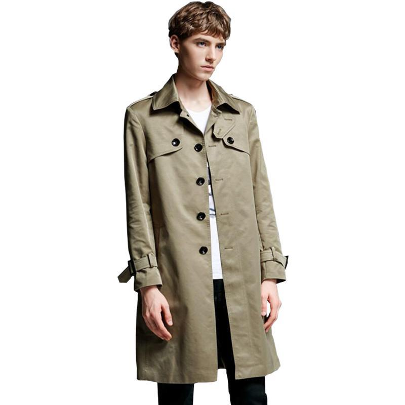 2018 Men Cotton Trench Coat Classic Single Breasted Trench Coat Masculino Male Clothing Long Jacket Coats British Style Overcoat