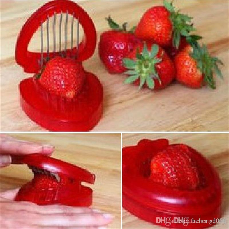 Acciaio inossidabile Strawberry Cutter Frutta Slitters Portable Slicing Tool Carving Cutter decorativo Gadget da cucina Alta Qulity 2 53qr Ww