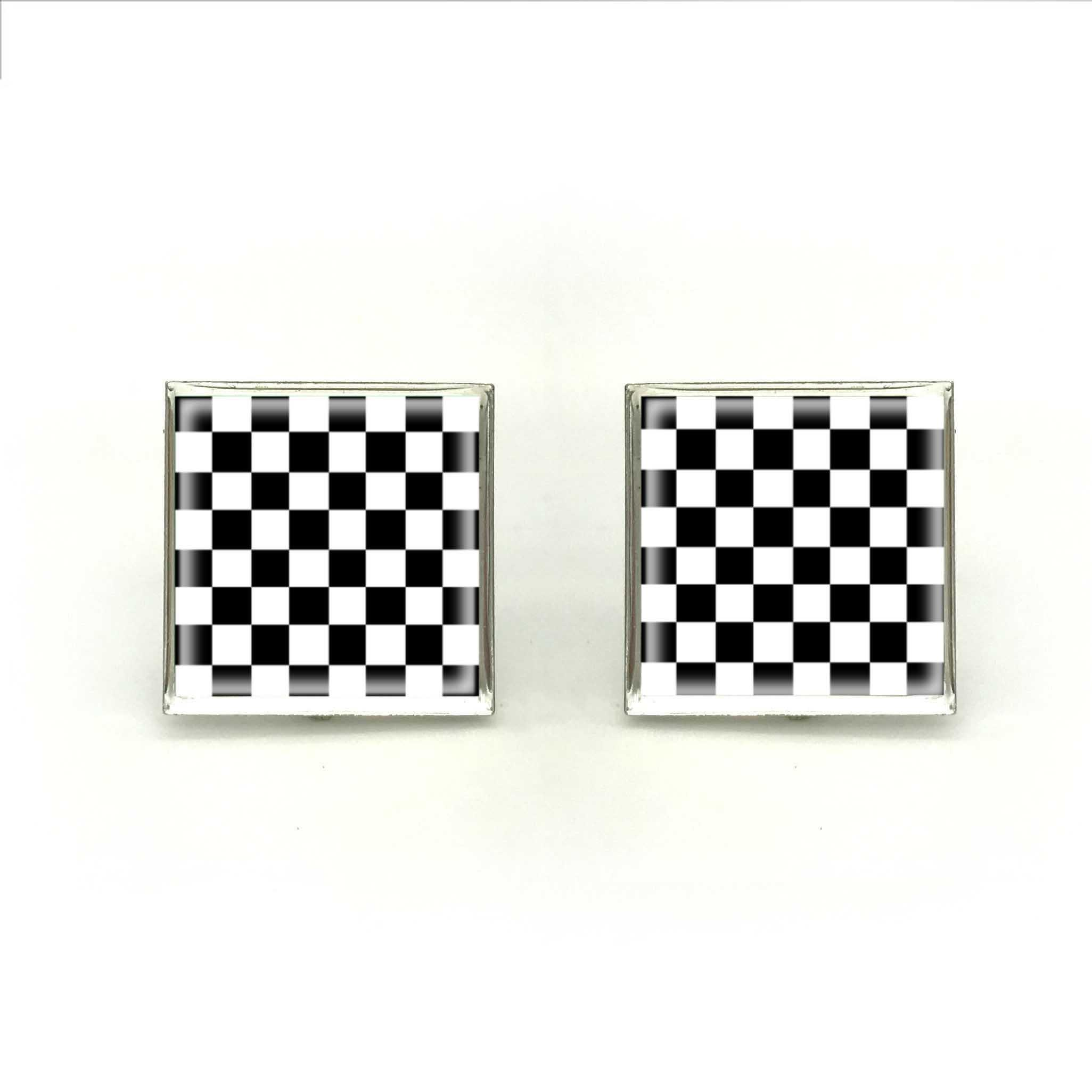 90a6d48e86a6 2019 2018 New Checkerboard Cufflink Chess Board Cufflinks Black And White  Square Cuff For Mens Silver Handmade Jewelry Glass Cuffs From  Jason19861229, ...