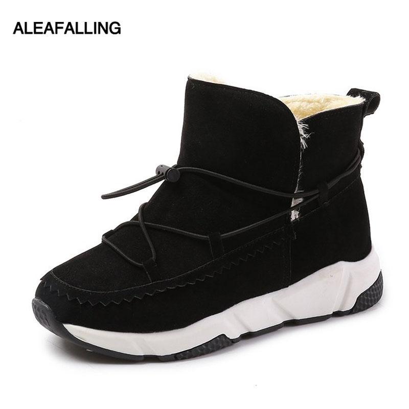 9d74c6e8912fb Acheter Aleafalling Chaud Fourrure Femmes Bottes De Neige Mignon En Daim  D hiver Chaussures Cheville Bottes Femme De Mode Non Slip Neige Casual  Chaussures ...