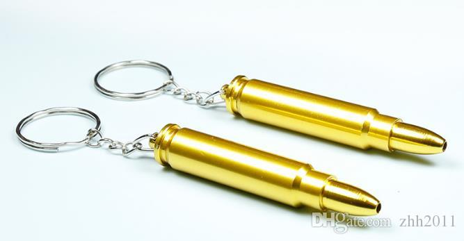Hot Selling Individual Metal Bullet Case Shape Pipe Key Chain Length 69mm