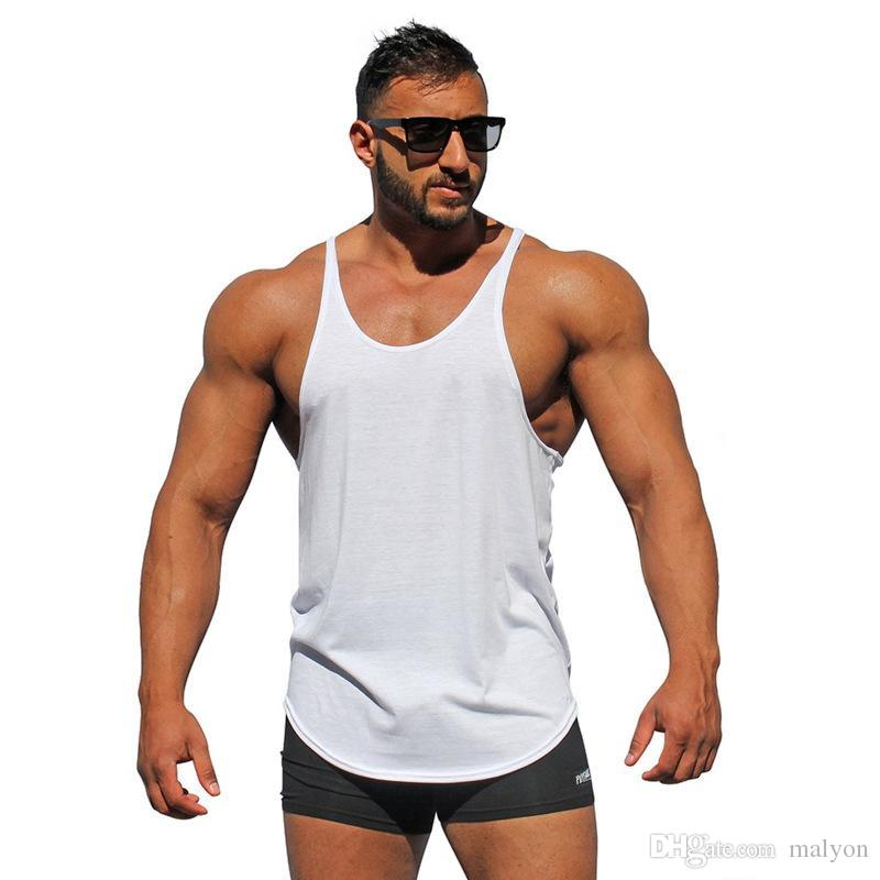 c0a7b2b550dc6 2019 Wholesale Bodybuilding Stringer Tank Tops Men Blank Vest Solid Color  Gyms Singlets Fitness Undershirt Men Vest Muscle Sleeveless Shirt From  Malyon