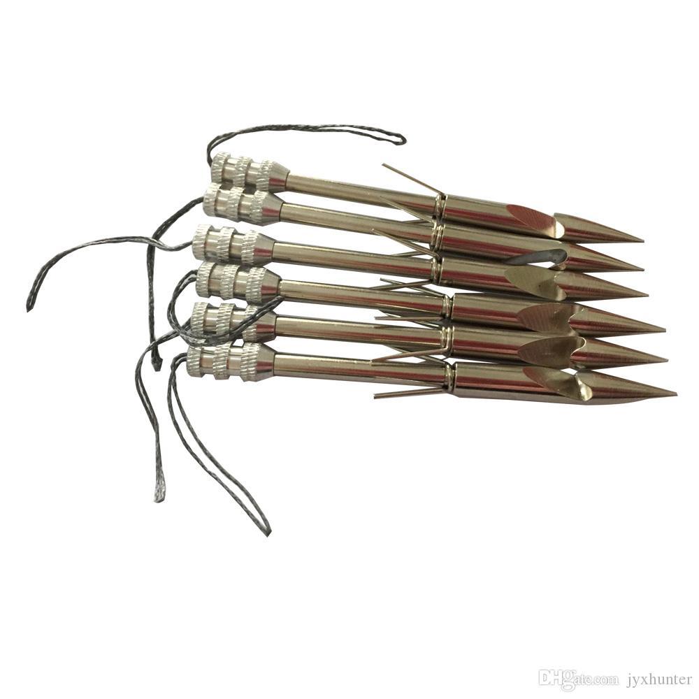 6 PK 3.6 pulgadas Arco de acero inoxidable Flecha de pesca Puntas de flecha Flecha de la catapulta Flecha de la flecha de la flecha