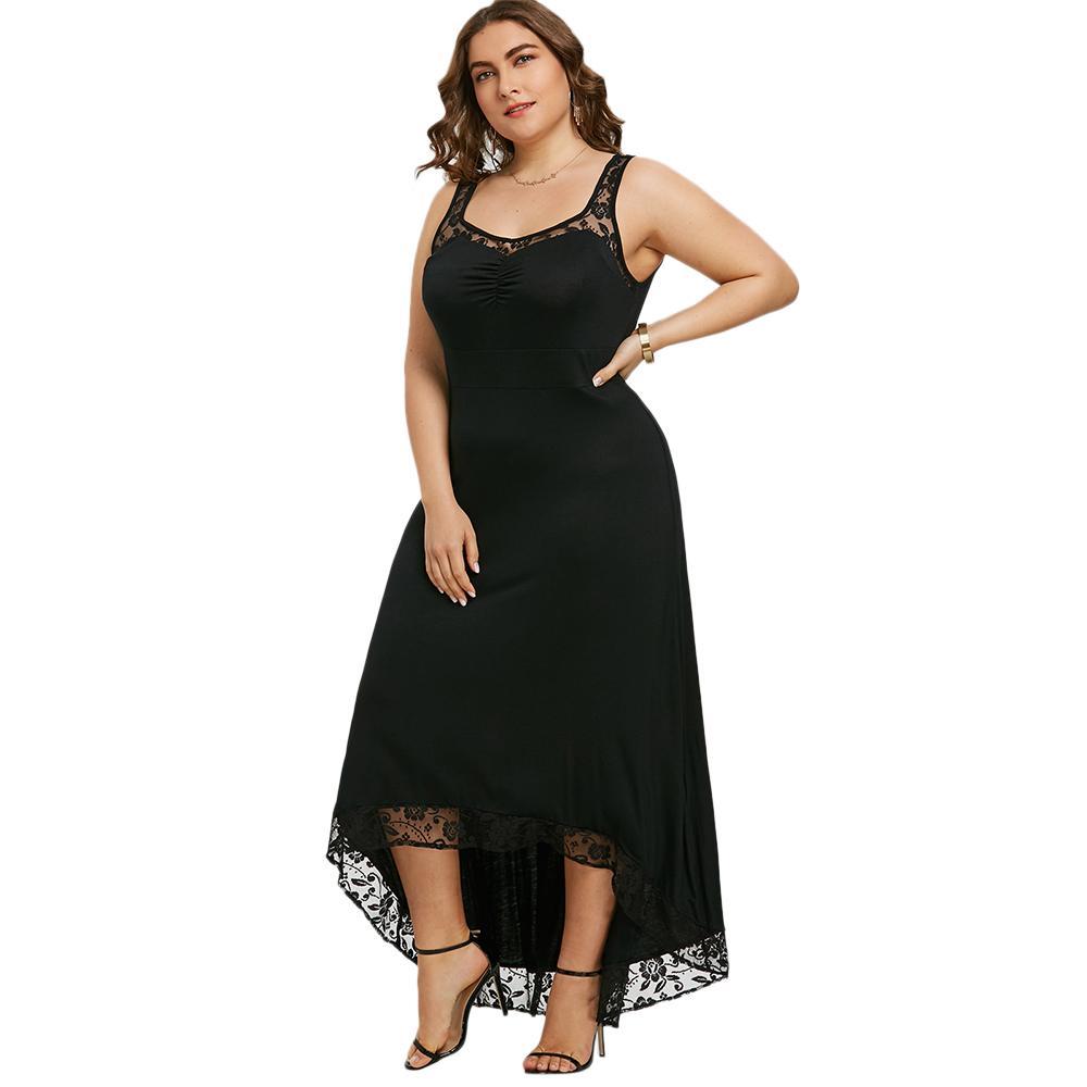 882cbe215bb Acheter Gamiss Plus La Taille Haute Basse Maxi Robe Femmes Sans Manches  Noir Blanc Élégant Soirée Fête Robes Longues De Plancher Robe Robe Robes De   22.94 ...