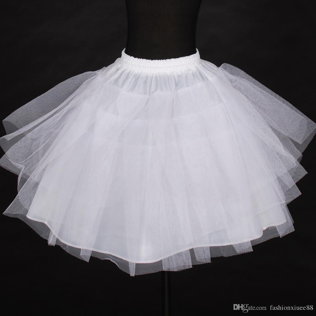 Wholesale In Stock Petticoats Three Layer Net White Flower Girl Dress Petticoat Cheap Child Crinolines Underskirt